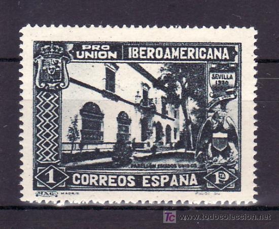 ESPAÑA 578CCAA CON CHARNELA, VARIEDAD COLOR NEGRO, PABELLON DE EE.UU., PRO UNION IBEROAMERICANA (Sellos - España - Alfonso XIII de 1.886 a 1.931 - Usados)