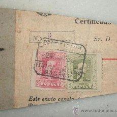 Sellos: SELLOS EN CARTON DE ALFONSO XIII - 25 Y 2 CENTIMOS. CERTIFICADO. FECHA MATASELLOS 24 DE MAYO DE 1930. Lote 27190150