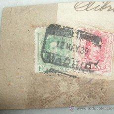 Sellos: SELLOS EN CARTON DE ALFONSO XIII - 25 Y 10 CENTIMOS. CERTIFICADO. FECHA MATASELLOS 12 - MAYO - 1930. Lote 27190151