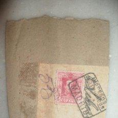 Sellos: SELLO EN CARTON DE ALFONSO XIII - 5 CENTIMOS. FECHA MATASELLOS 7 DE JUNIO DE 1930. Lote 27190152