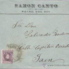 Sellos: CARTA DE PALMA DEL RÍO A JAEN DE 1 ABR. 1905. MEMBRETE: RAMÓN CANTO - PALMA DEL RÍO.. Lote 22570152