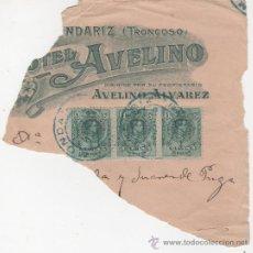 Sellos: ALFONSO XIII - MEDALLON - TRES SELLOS DE 5 CTS. - HOTEL AVELINO - MONDARIZ. Lote 24342092