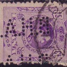 Sellos: ESPAÑA. 15 CTS. PERFORACIÓN COMERCIAL *B.H.A.* (CAT.54) MADRID. VARIEDAD DOBLE PERFORACIÓN. MUY RARO. Lote 26665915