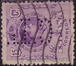ESPAÑA. 15 CTS. PERFORACIÓN COMERCIAL * C. L. * (CAT. 30) CREDITO LYONES. SEVILLA. MUY RARO. (Sellos - España - Alfonso XIII de 1.886 a 1.931 - Usados)
