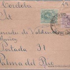 Sellos: CARTA DE CÓRDOBA A PALMA DEL RÍO.DE 16 OCTUBRE 1922.FRANQUEADO CON LOS SELLOS 268 Y 273.. Lote 26750582