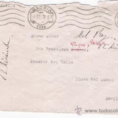 Sellos: CARTA DE MADRID A SEVILLA.DE 9 DICIEMBRE 1920. FRANQUEADO CON SELLO 273. . Lote 26863325