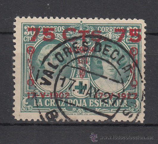 ESPAÑA 381 USADA, CRUZ ROJA, SOBRECARGADO XXV ANIVº JURA CONSTITUCION POR ALFONSO XIII (Sellos - España - Alfonso XIII de 1.886 a 1.931 - Usados)