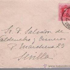 Sellos: CARTA DE MÁLAGA A SEVILLA.DE 17 DE AGOSTO DE 1926. FRANQUEADO CON SELLO 317.. Lote 27420848