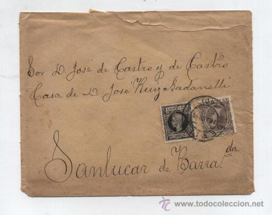 CARTA DE SEVILLA A SANLUCAR DE BARRAMEDA.DE 16-AGO-1898. FRANQUEDA CON SELLOS 219 Y 240. (Sellos - España - Alfonso XIII de 1.886 a 1.931 - Cartas)