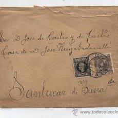 Sellos: CARTA DE SEVILLA A SANLUCAR DE BARRAMEDA.DE 16-AGO-1898. FRANQUEDA CON SELLOS 219 Y 240.. Lote 27860459