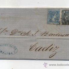 Sellos: CARTA DE MÁLAGA A CADIZ. DE 4 AGOSTO 1875. FRANQUEADO CON SELLOS 154 Y 164.. Lote 27860638
