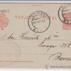 Sellos: TARJETA ENTERO POSTAL DE GIJÓN A BARCELONA DE 23 DE JULIO 1908. EDIFIL 49.. Lote 28192784
