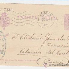 Sellos: TARJETA ENTERO POSTAL DE SEVILLA A BADAJOZ DE 1 DIC. 1922. EDIFIL 50.. Lote 28192792