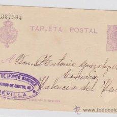 Sellos: TARJETA ENTERO POSTAL DE SEVILLA A VALENCIA DEL VENTOSO DE 11-10.1922. EDIFIL 50.. Lote 28194632