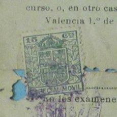 Sellos: SELLO ESPECIAL MÓVIL DE 15 CTS CON SELLO FACULTAD DE MEDICINA DE VALENCIA. Lote 28668884