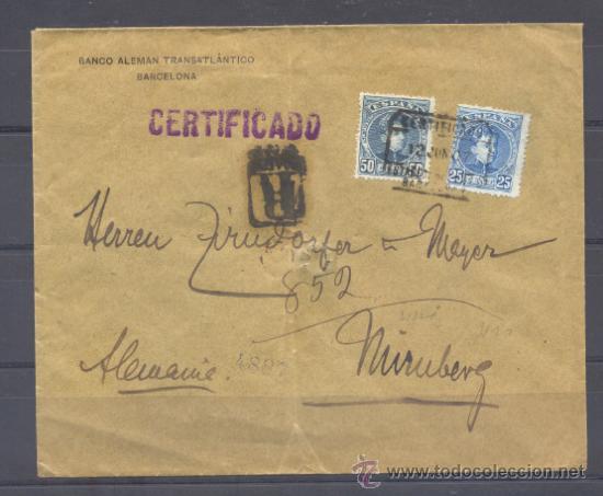 1907.- BARCELONA A NUREMBERG (Sellos - España - Alfonso XIII de 1.886 a 1.931 - Cartas)
