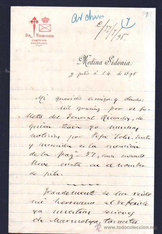 CARTA DE MARIANO PARDO DE FIGUEROA (1828-1918), DOCTOR THEBUSSEM, A SU PRIMO. MEDINA SIDONIA, 1895 (Sellos - España - Alfonso XIII de 1.886 a 1.931 - Cartas)