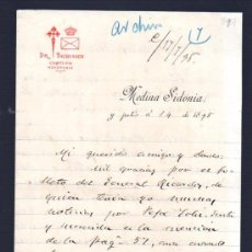 Sellos: CARTA DE MARIANO PARDO DE FIGUEROA (1828-1918), DOCTOR THEBUSSEM, A SU PRIMO. MEDINA SIDONIA, 1895. Lote 28825546