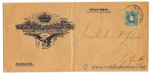 PERFORADOS - CARTA COMERCIAL DE VINOS R.M B.C. - SELLO CADETE - MUY BONITA PIEZA (Sellos - España - Alfonso XIII de 1.886 a 1.931 - Cartas)