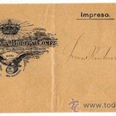 Sellos: PERFORADOS - CARTA COMERCIAL DE VINOS R.M B.C. - SELLO CADETE - MUY BONITA PIEZA. Lote 28947110