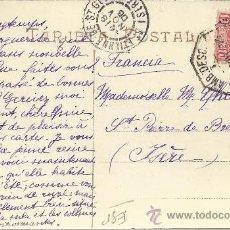 Sellos: SAN SEBASTIAN TRAJETA POSTAL PALACIO REAL CON SELLO ALFONSO XIII CADETE Y MAT AMBULANTE FERROCARRIL . Lote 28970093