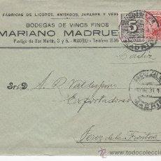 Sellos: SOBRE COMERCIAL CIRCULADO DESDE LAS BODEGAS MARIANO MADRUEÑO DE MADRID A JEREZ DE LA FRONTERA. Lote 29279757