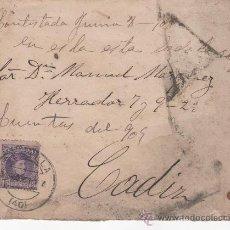 Sellos: CARTA CIRCULADA DESDE EL CASINO MILITAR DE SEVILLA A CÁDIZ EN 1909, CON MEMBRETE DEL CASINO. Lote 29280785