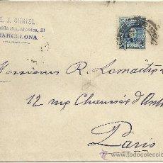 Sellos: BARCELONA ALFONSO XIII CADETE 25 CTS CC A PARIS MAT ESTAFETA CAMBIO AL DORSO MAT LLEGADA 1902 . Lote 29699070