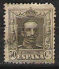 SELLO ALFONSO XIII 30 CENTIMOS CIRCULADO NUMERADO SIN LETRA (Sellos - España - Alfonso XIII de 1.886 a 1.931 - Usados)
