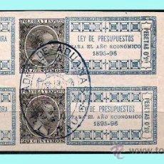 Sellos: 1895-96.- PAREJA CON SELLO IMPRESO DE ALFONSO XIII DE 20 CTS. IMPUESTO SOBRE POLVORA DE CAZA. Lote 30749718