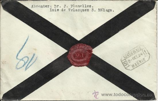 Sellos: MALAGA CC CERTIFICADA DE LUTO A AUSTRIA SELLOS ALFONSO XIII VAQUER 40 CTS X 2 AL DORSO MAT TRANSITO - Foto 2 - 31323355