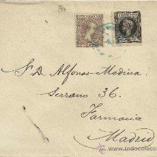 Sellos: CC ALFONSO XIII PELON CON MAT AMBULANTE EN COLOR AZUL Y SELLO IMPUESTO DE GUERRA. Lote 31630289