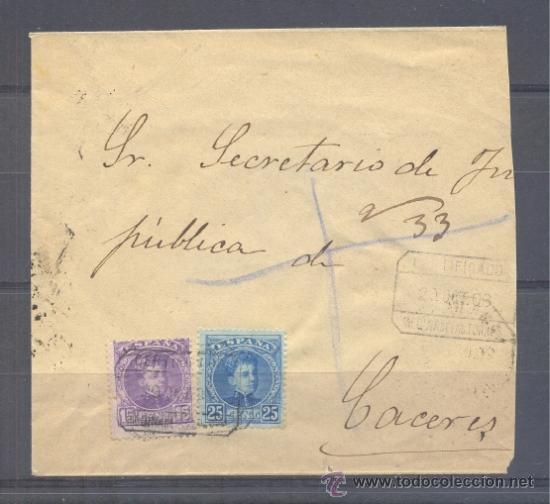 1909.- MEDINA DE LAS TORRES (BADAJOZ) A CACERES (Sellos - España - Alfonso XIII de 1.886 a 1.931 - Cartas)