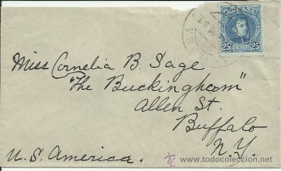 MALAGA CC A USA SELLO ALFONSO XIII CADETE (Sellos - España - Alfonso XIII de 1.886 a 1.931 - Cartas)