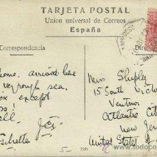 Sellos: AMBULANTE ALFONSO XIII MEDALLON TP BARCELONA A USA CON MAT AMBULANTE FERROCARRIL DESC I BAR-PORT 7 G. Lote 31919202