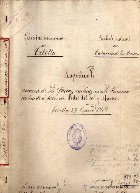CEBOLLA. TOLEDO. TALAVERA DE LA REINA. JUZGADO. SELLOS DEL ESTADO Y TIMBRES MOVILES. (Sellos - España - Alfonso XIII de 1.886 a 1.931 - Usados)
