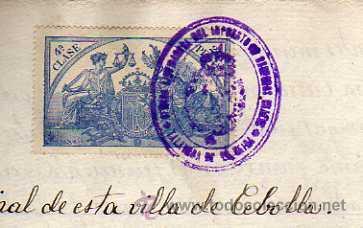 Sellos: Cebolla. Toledo. Talavera de la Reina. Juzgado. Sellos del estado y timbres moviles. - Foto 2 - 33010309
