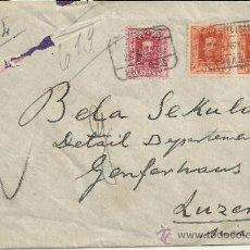 Sellos: ALFONSO XIII CC CERTIFICADA DE PALAMOS GERONA A SUIZA SELLOS VAQUER 50+50 + 5 AL DORSO MAT AMBULANTE. Lote 33138591