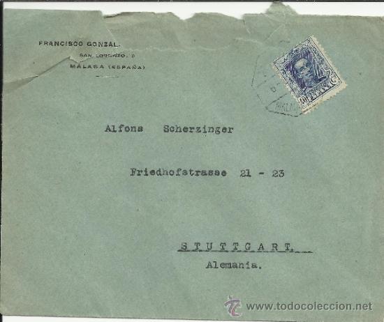 MALAGA MAT AMBULANTE FERROCARRIL VAQUER ALFONSO XIII (Sellos - España - Alfonso XIII de 1.886 a 1.931 - Cartas)