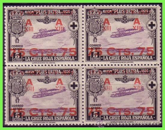 1927 ALFONSO XIII, CRUZ ROJA AÉREOS, XXV ANIVº., NUEVO VALOR, B4 EDIFIL Nº 388 * * (Sellos - España - Alfonso XIII de 1.886 a 1.931 - Nuevos)