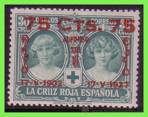 1927 ALFONSO XIII, CRUZ ROJA, XXV ANIVº., NUEVO VALOR, EDIFIL Nº 381 * (Sellos - España - Alfonso XIII de 1.886 a 1.931 - Nuevos)
