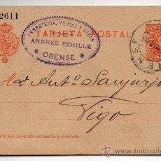 Sellos: ENTERO POSTAL ALFONSO XIII. 10 CÉNTIMOS. CIRCULADO ORENSE - VIGO. 18 DE MARZO DE 1905.. Lote 34321997