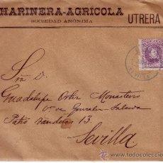 Sellos: EDIFIL Nº 246 - CARTA CIRCULADA DE UTRERA A SEVILLA DE 15 CM VIOLETA DE ALFONSO XIII - FECHADOR AZUL. Lote 34330207