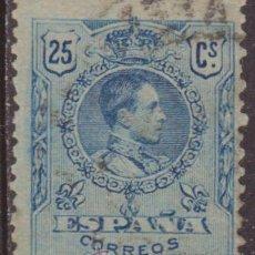Sellos: ESPAÑA 1909-22 EDIFIL 274 SELLO º ALFONSO XIII 25C TIPO MEDALLON NUMERO DE CONTROL AL DORSO SPAIN. Lote 34666797