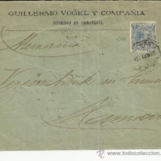 Sellos: CC SELLO ALFONSO XIII PELON Y MAT AMBULANTE NORTE AL DORSO MAT LLEGADA A HANNOVER 1895. Lote 35435547