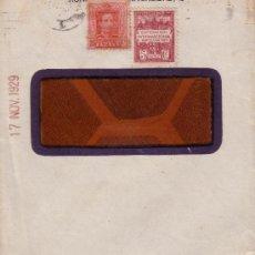 Sellos: ESPAÑA. 1929. SOBRE CON VENTANA PUBLICITARIO DE PIRELLI. 25 CTS. Y AYTO. LLEGADA A BLANES (GERONA).. Lote 36337104