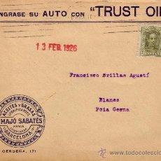Sellos: ESPAÑA. 1926. SOBRE PUBLICIDAD AUTOMÓVIL DE BARCELONA A BLANES (GERONA). 2 CTS. IMPRESOS. BONITA.. Lote 36337319