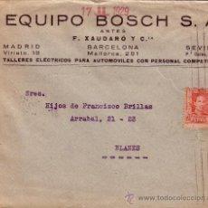 Sellos: ESPAÑA. 1929. SOBRE PUBLICITARIO AUTOMÓVILES DE BARCELONA A BLANES. 25 CTS. LLEGADA. MUY BONITO.. Lote 36337755