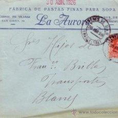 Sellos: ESPAÑA. 1926. SOBRE PUBLICITARIO DE ARENYS DE MAR (BARCELONA) A BLANES. 25 CTS.MAT. FECHADOR. BONITO. Lote 36347211