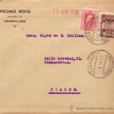 Sellos: ESPAÑA. 1930. SOBRE DE GRANOLLERS (BARCELONA) A BLANES. 25 Y 5 CTS. AYTO. MAT. GRANOLLERS. LLEGADA.. Lote 36347431